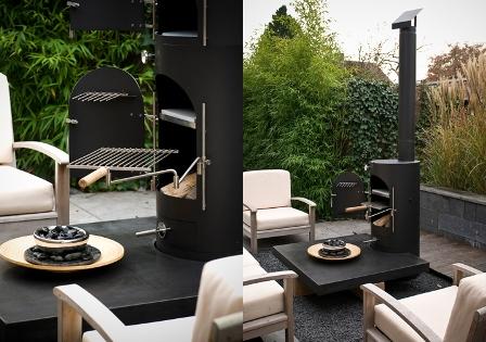 Garden Kitchen zwart met tafel eikenhout en beton